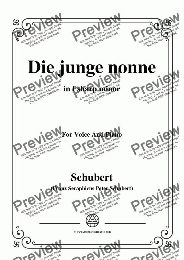 page one of Schubert-Die junge nonne in f sharp minor,for Voice and Piano