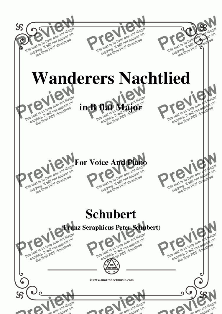 page one of Schubert-Wanderers Nachtlied in B flat Major,for Voice and Piano