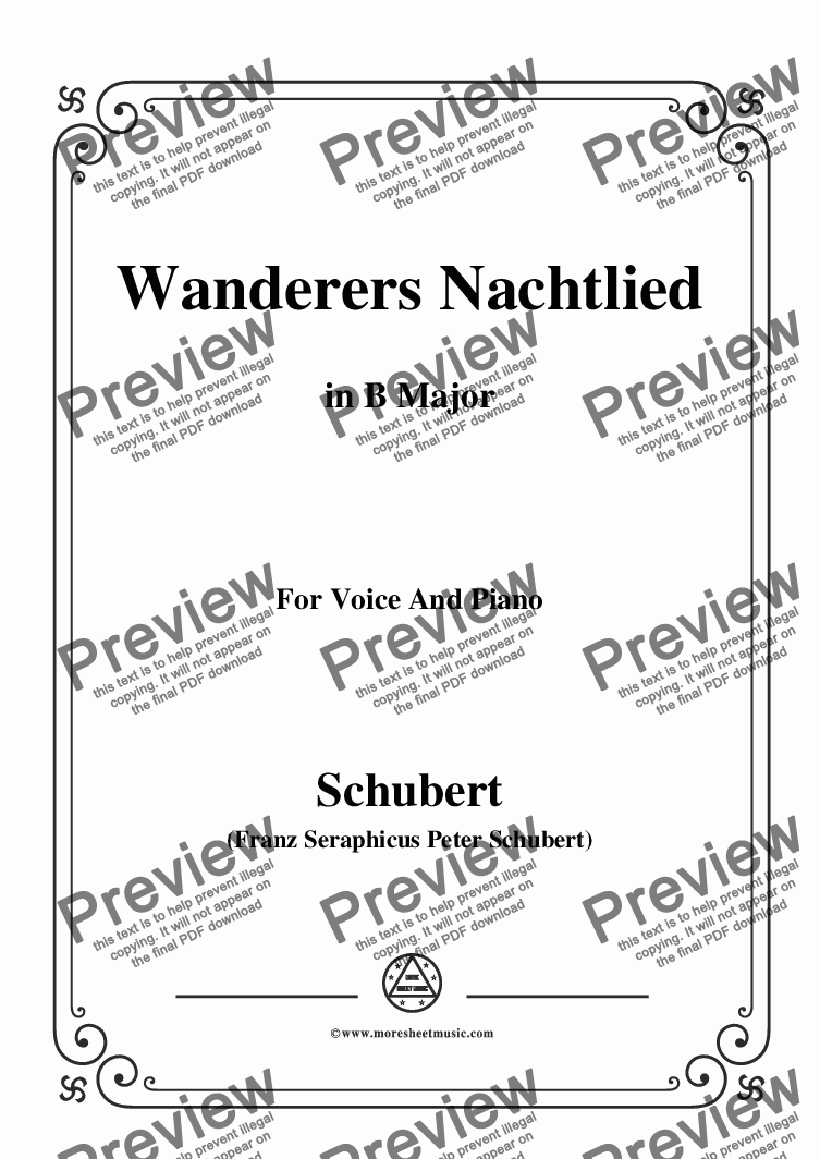 page one of Schubert-Wanderers Nachtlied in B Major,for Voice and Piano