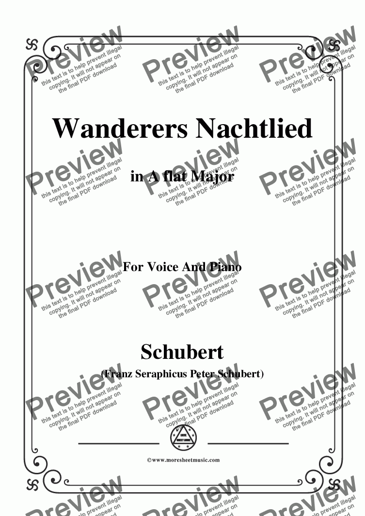 page one of Schubert-Wanderers Nachtlied in A flat Major,for Voice and Piano