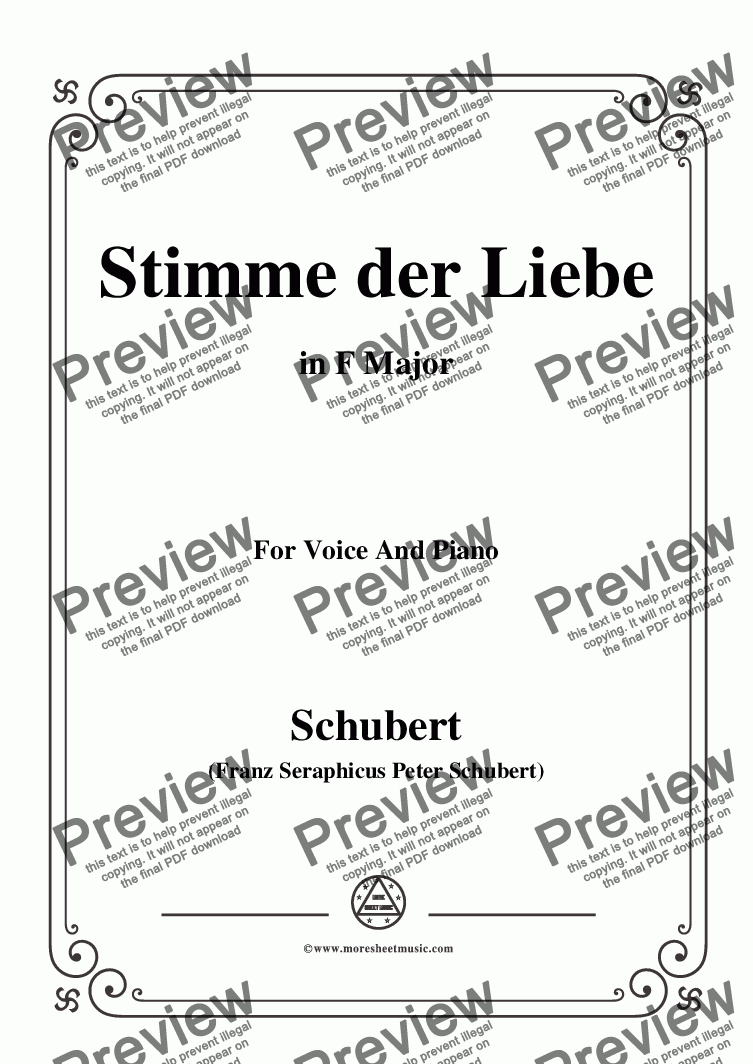 page one of Schubert-Stimme der Liebe,D.187,in F Major,for Voice and Piano