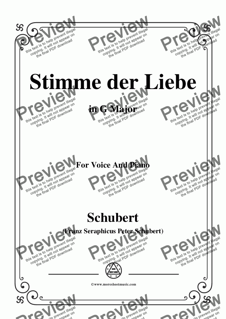 page one of Schubert-Stimme der Liebe,D.187,in G Major,for Voice and Piano