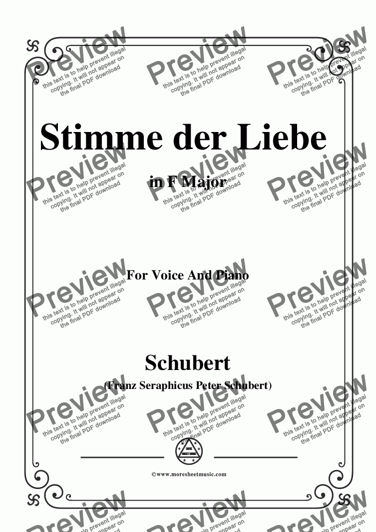 page one of Schubert-Stimme der Liebe,D.418,in F Major,for Voice and Piano