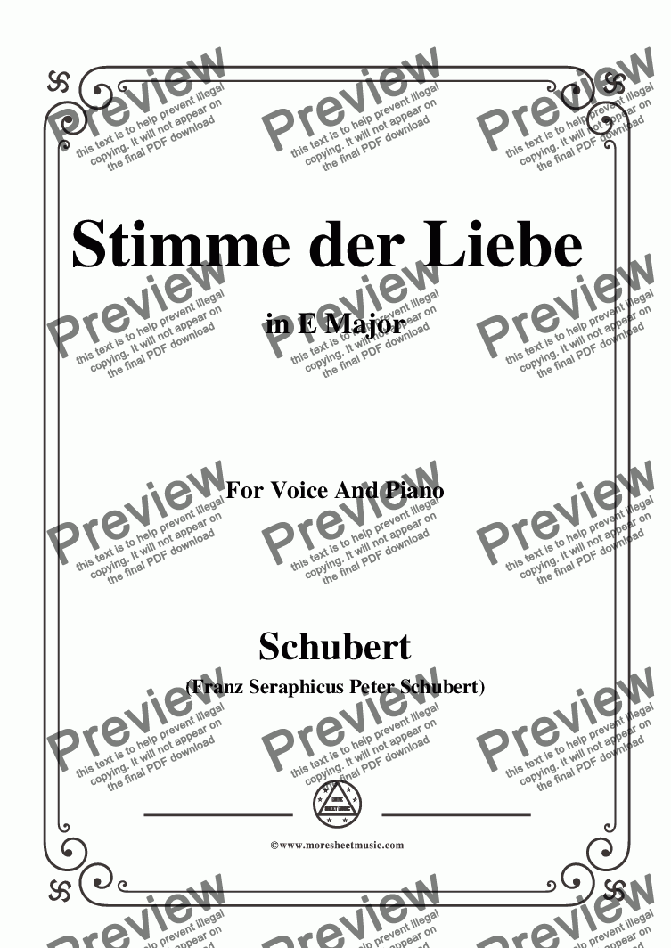 page one of Schubert-Stimme der Liebe,D.418,in E Major,for Voice and Piano