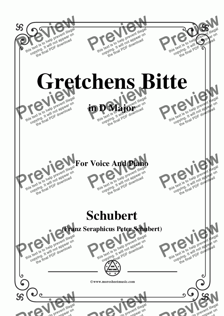 page one of Schubert-Gretchens Bitte in D Major,for Voice and Piano
