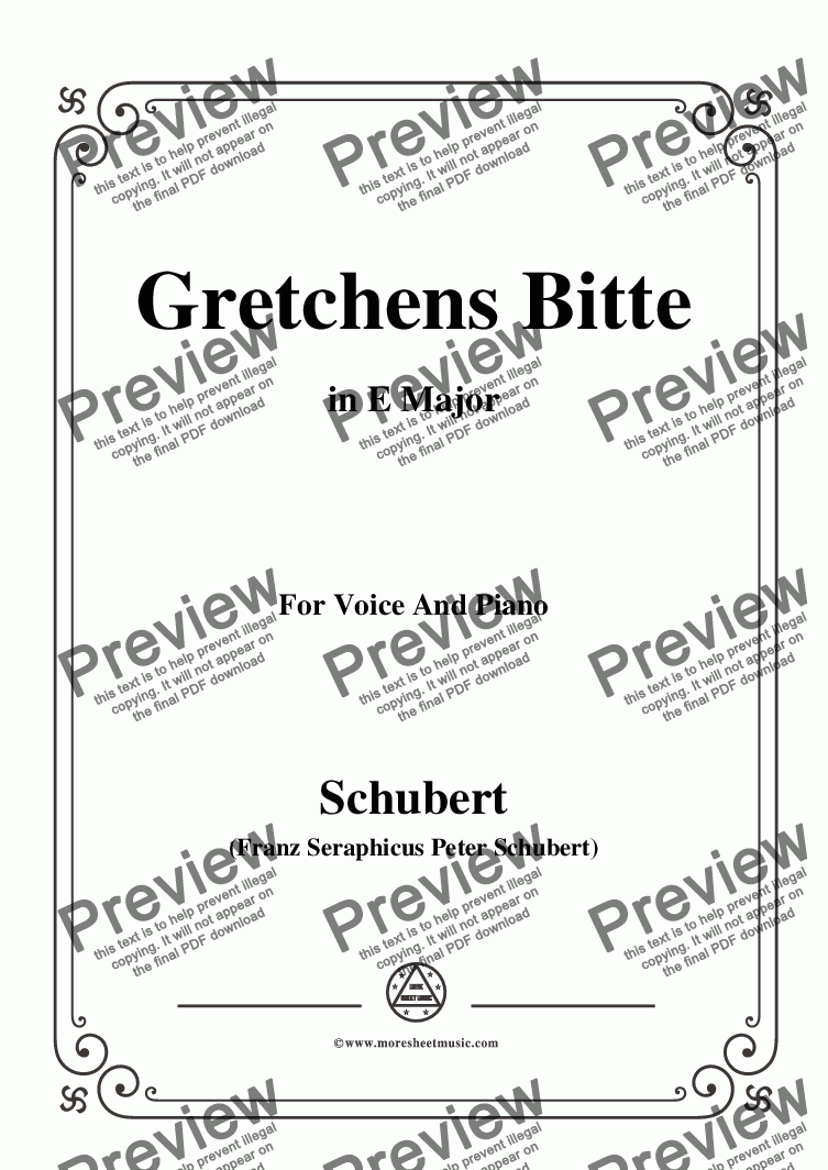 page one of Schubert-Gretchens Bitte in E Major,for Voice and Piano