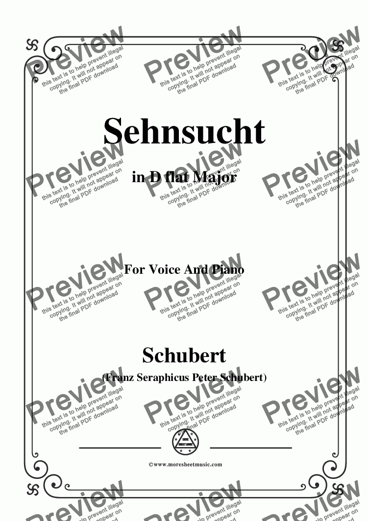 page one of Schubert-Sehnsucht,D.52,in D flat Major,for Voice and Piano
