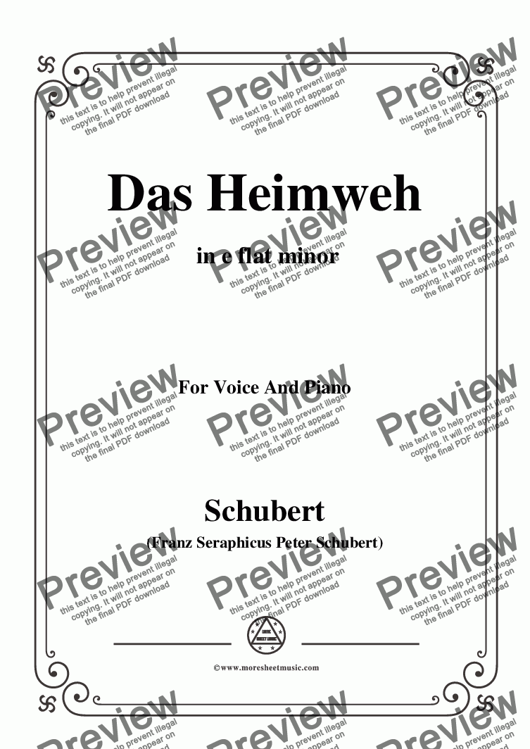 page one of Schubert-Das Heimweh,Op.79 No.1,in e flat minor,for Voice and Piano