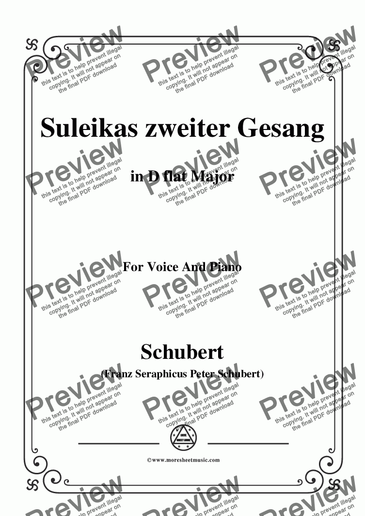 page one of Schubert-Suleikas zweiter Gesang in D flat Major,for Voice and Piano
