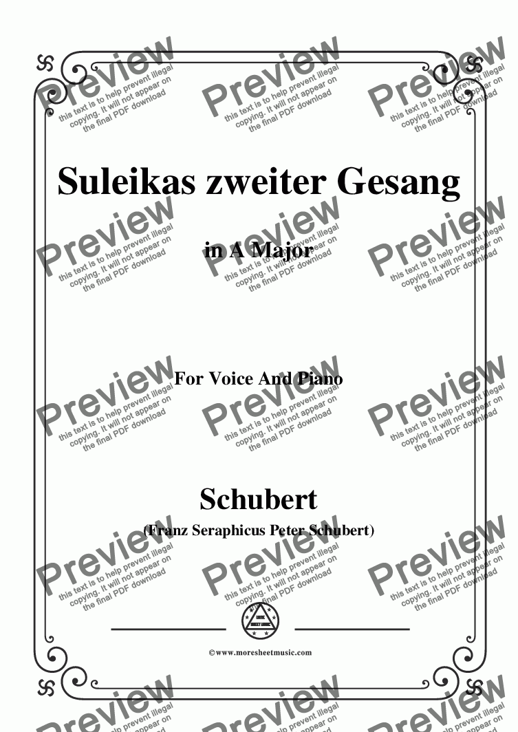 page one of Schubert-Suleikas zweiter Gesang in A Major,for Voice and Piano