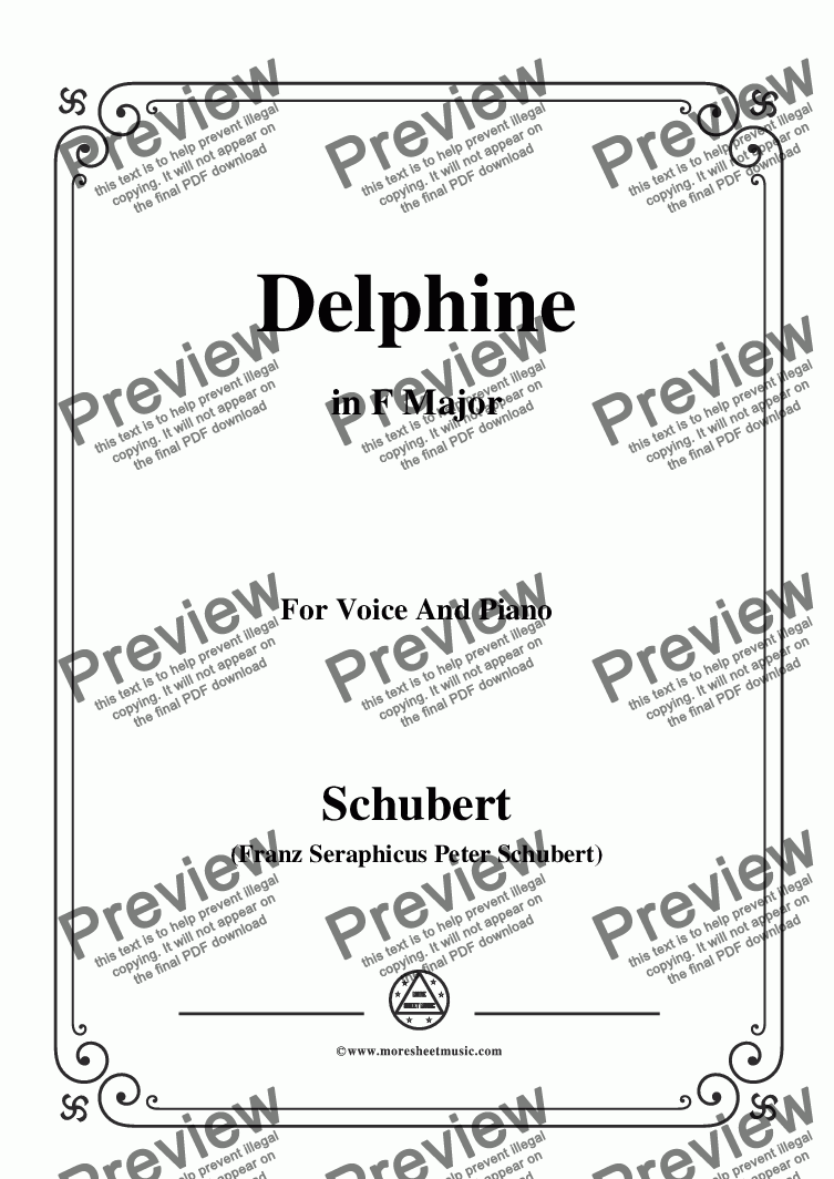 page one of Schubert-Delphine in F Major,for Voice and Piano