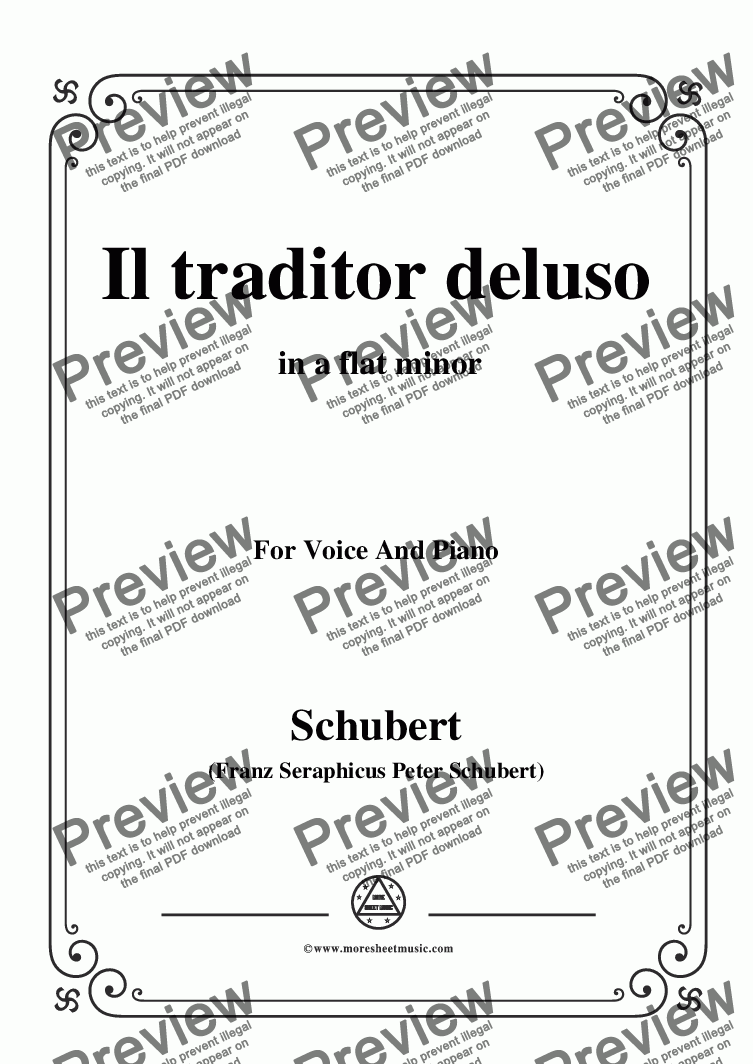 page one of Schubert-Il traditor deluso in a flat minor,for Voice and Piano