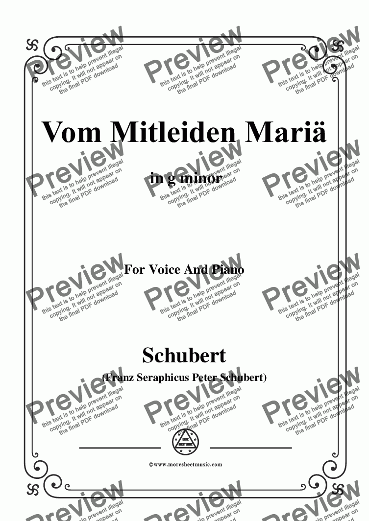 page one of Schubert-Vom Mitleiden Mariä in g minor,for Voice and Piano
