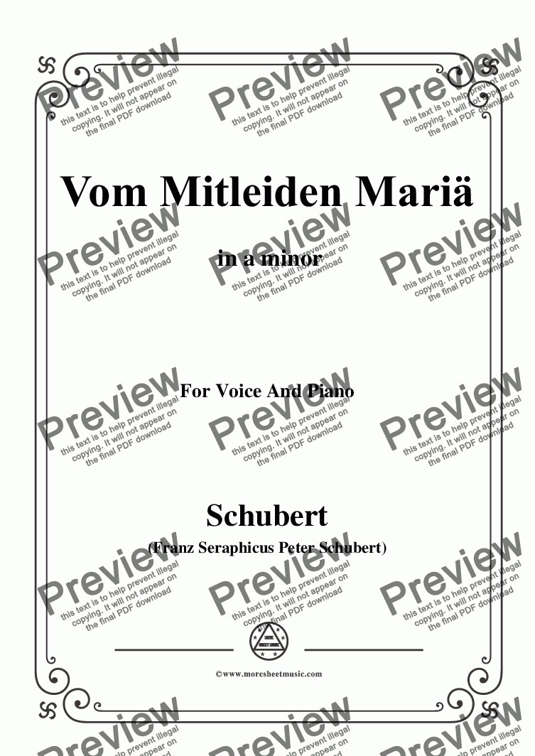 page one of Schubert-Vom Mitleiden Mariä in a minor,for Voice and Piano