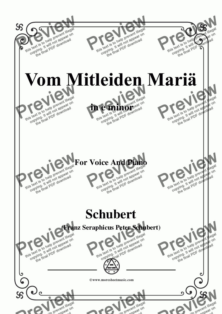 page one of Schubert-Vom Mitleiden Mariä in e minor,for Voice and Piano