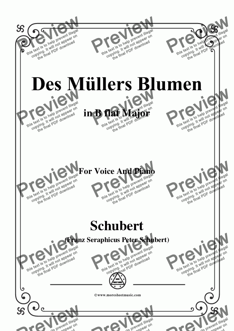 page one of Schubert-Des Müllers Blumen in B flat Major,for Voice and Piano