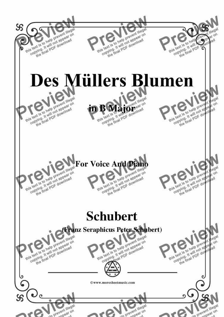 page one of Schubert-Des Müllers Blumen in B Major,for Voice and Piano