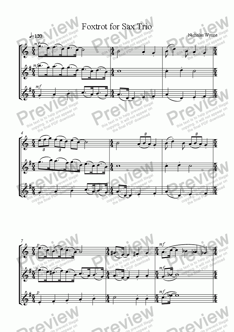 page one of Foxtrot, No.4 of Dances for Sax Trio
