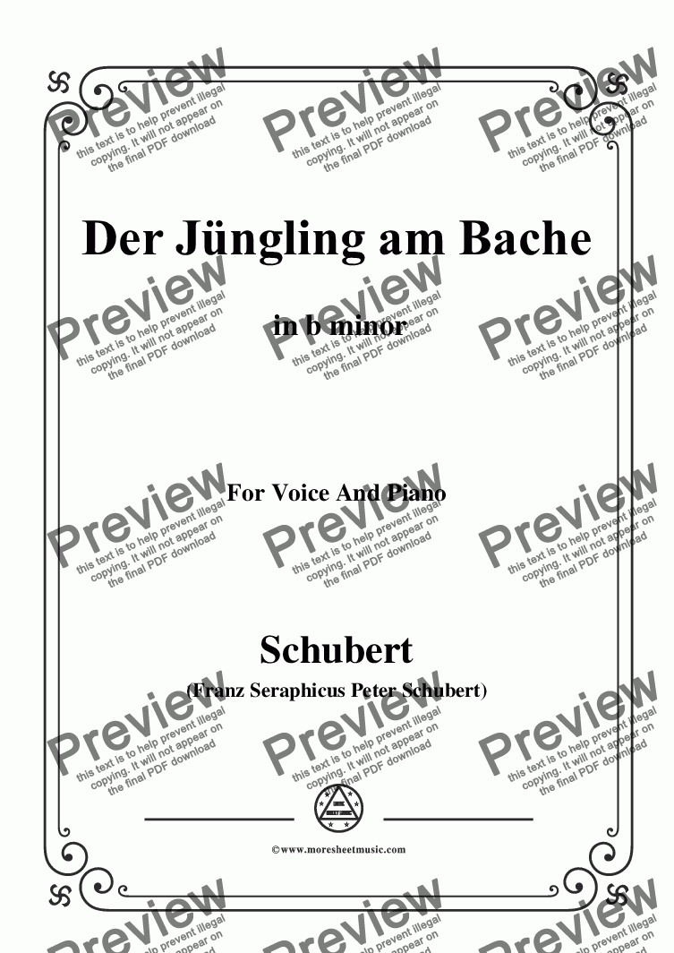 page one of Schubert-Der Jüngling am Bache,Op.87 No.3,in b minor,for Voice and Piano