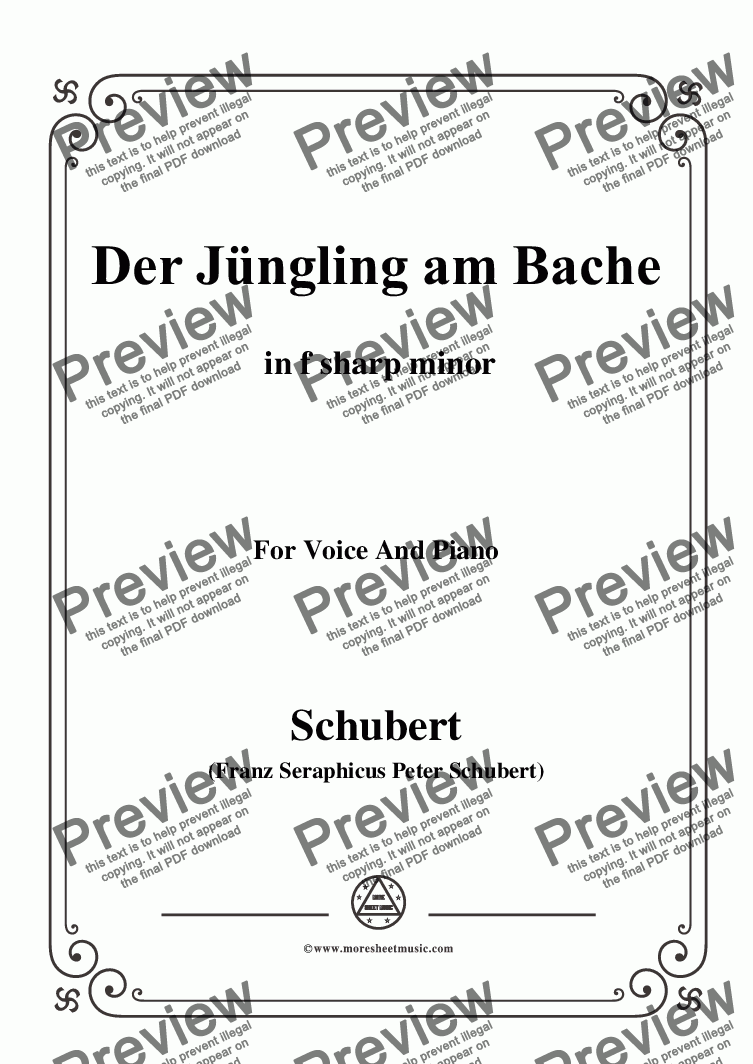 page one of Schubert-Der Jüngling am Bache,D.192,in f sharp minor,for Voice and Piano
