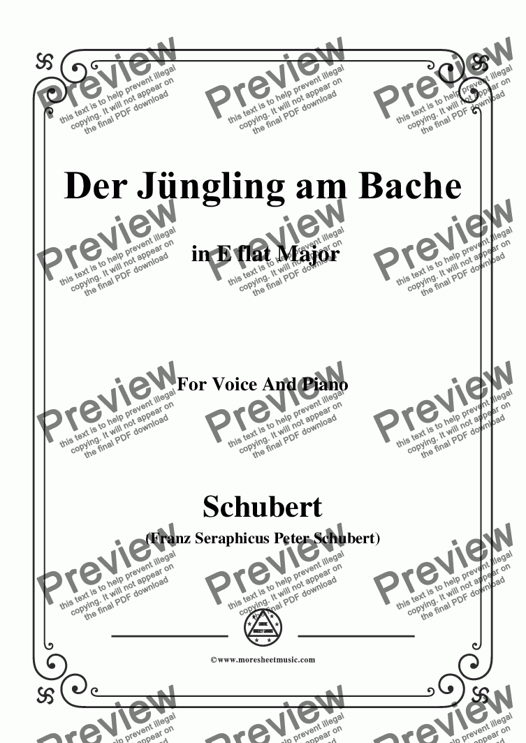 page one of Schubert-Der Jüngling am Bache,D.30,in E flat Major,for Voice and Piano
