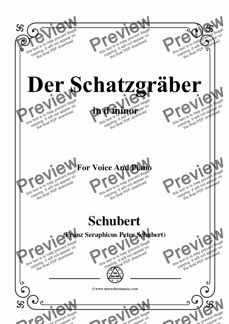 page one of Schubert-Der Schatzgräber,in d minor,for Voice and piano