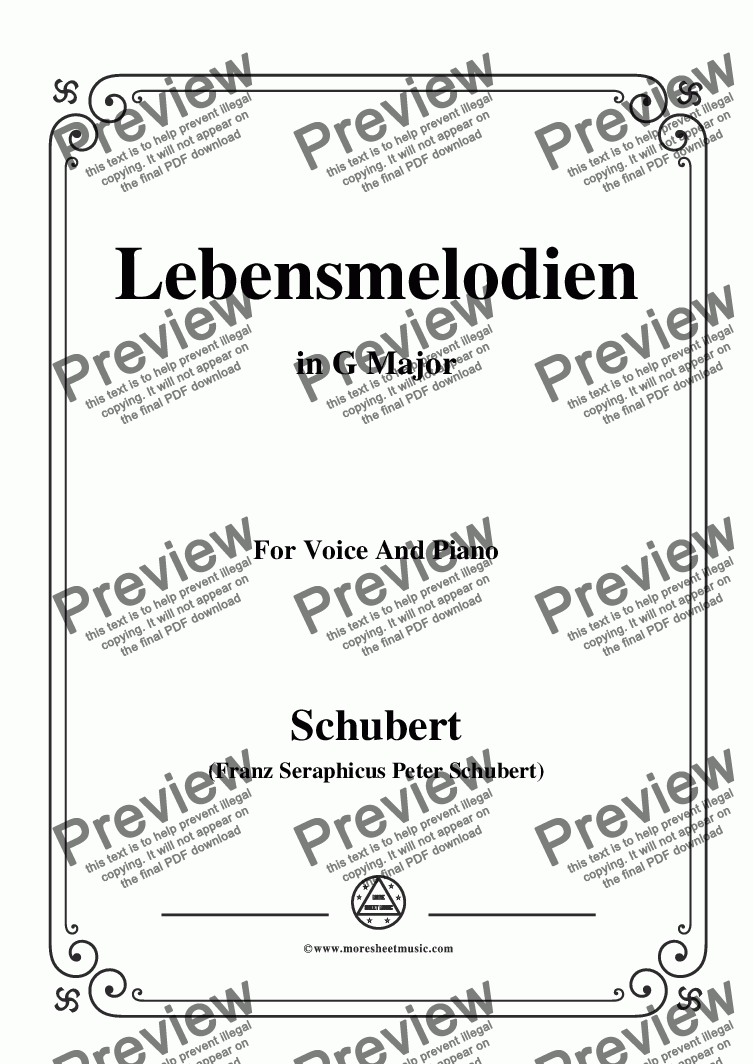 page one of Schubert-Lebensmelodien in G Major,for Voice and Piano