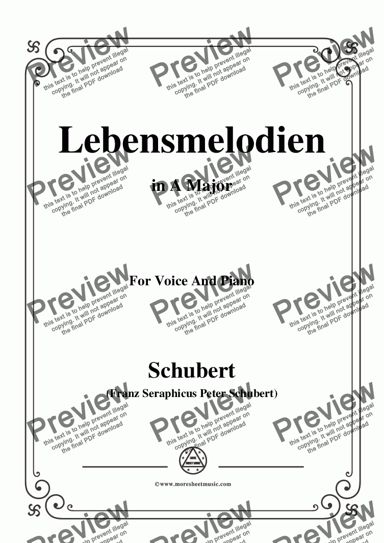 page one of Schubert-Lebensmelodien in A Major,for Voice and Piano