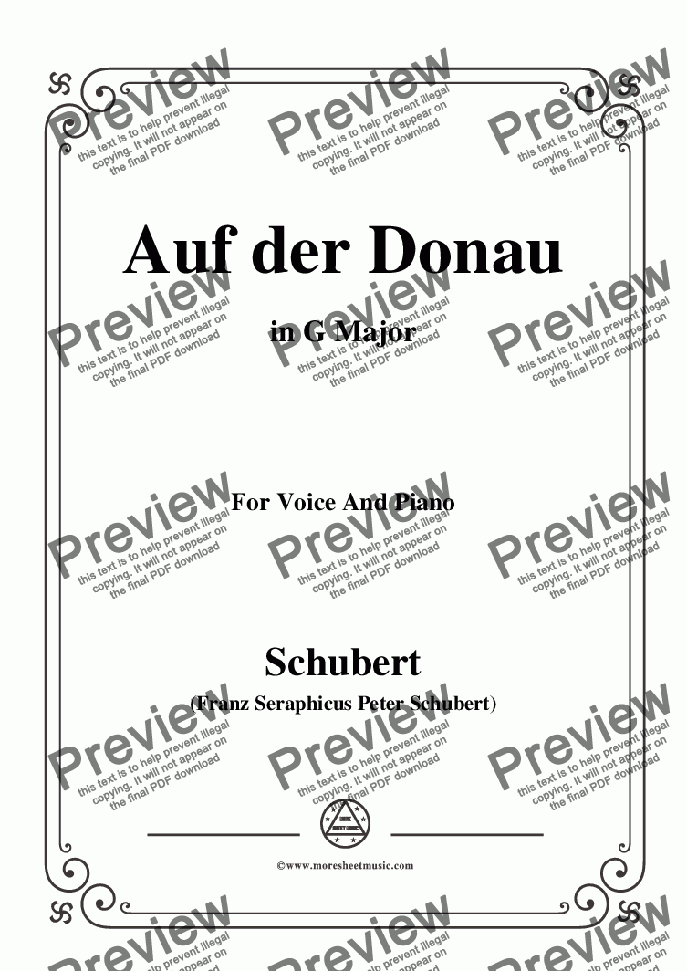 page one of Schubert-Auf der Donau,in G Major,Op.21,No.1,for Voice and Piano