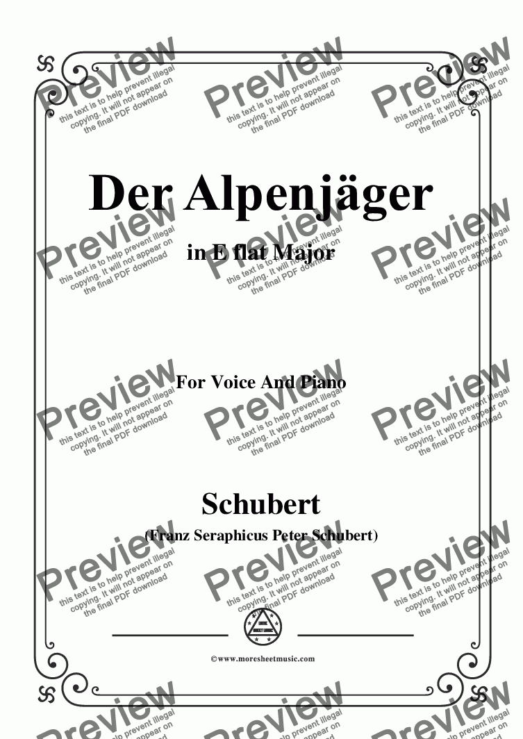page one of Schubert-Der Alpenjäger,in E flat Major,Op.13,No.3,for Voice and Piano