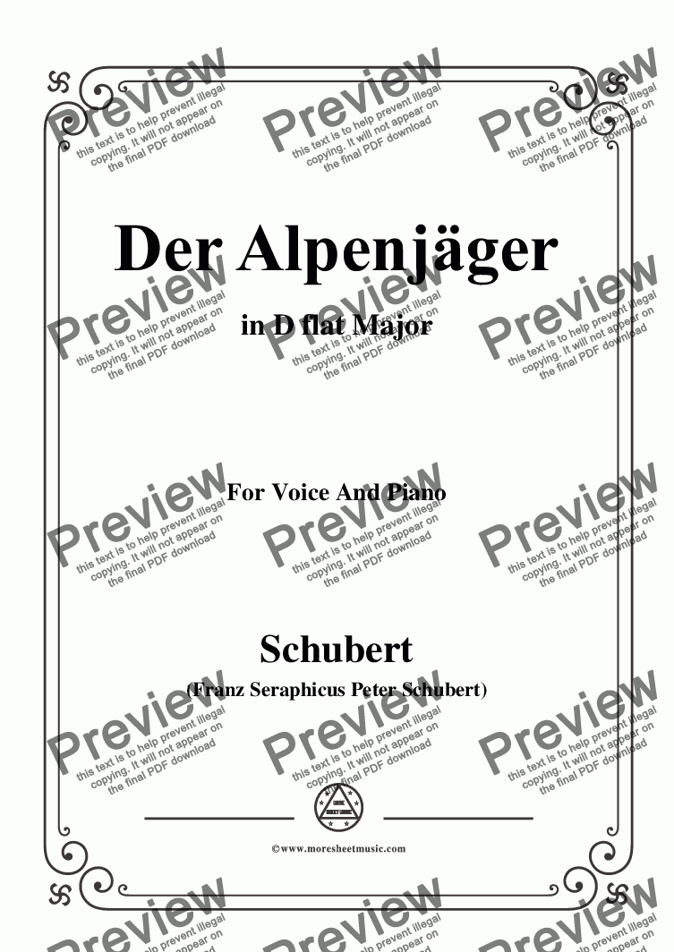 page one of Schubert-Der Alpenjäger,in D flat Major,Op.13,No.3,for Voice and Piano