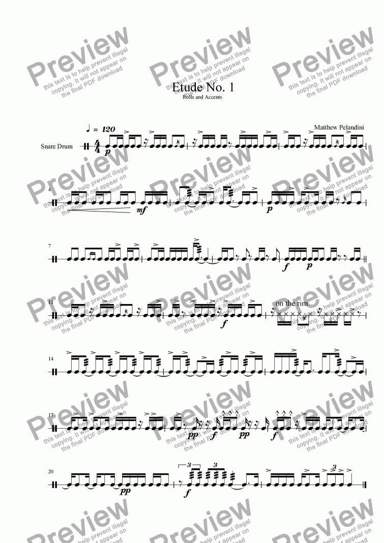 snare drum etude no 1 download sheet music pdf file. Black Bedroom Furniture Sets. Home Design Ideas