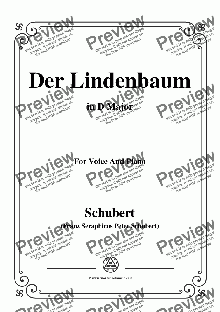 page one of Schubert-Der Lindenbaum,Op.89,No.5,in D Major,for Voice and Piano