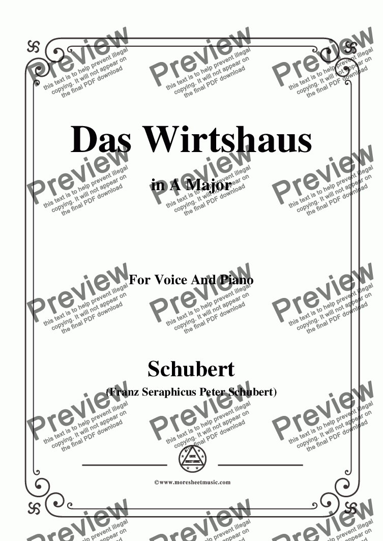 page one of Schubert-Das Wirtshaus,in A Major,Op.89,No.21,for Voice and Piano