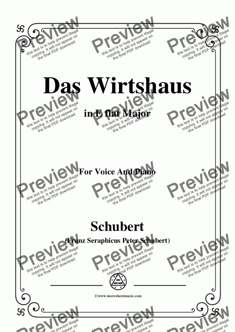 page one of Schubert-Das Wirtshaus,in E flat Major,Op.89,No.21,for Voice and Piano