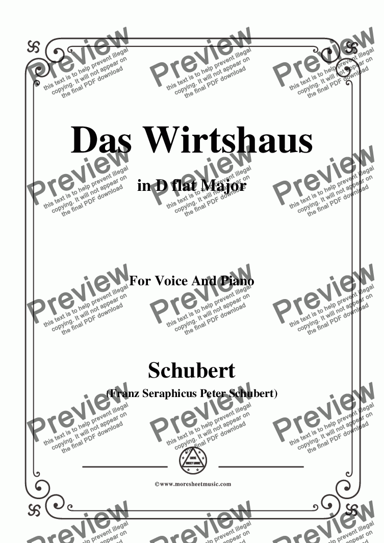page one of Schubert-Das Wirtshaus,in D flat Major,Op.89,No.21,for Voice and Piano