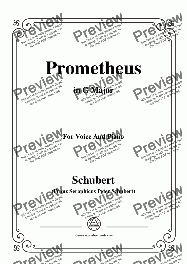 page one of Schubert-Prometheus,in G Major,for Voice and Piano