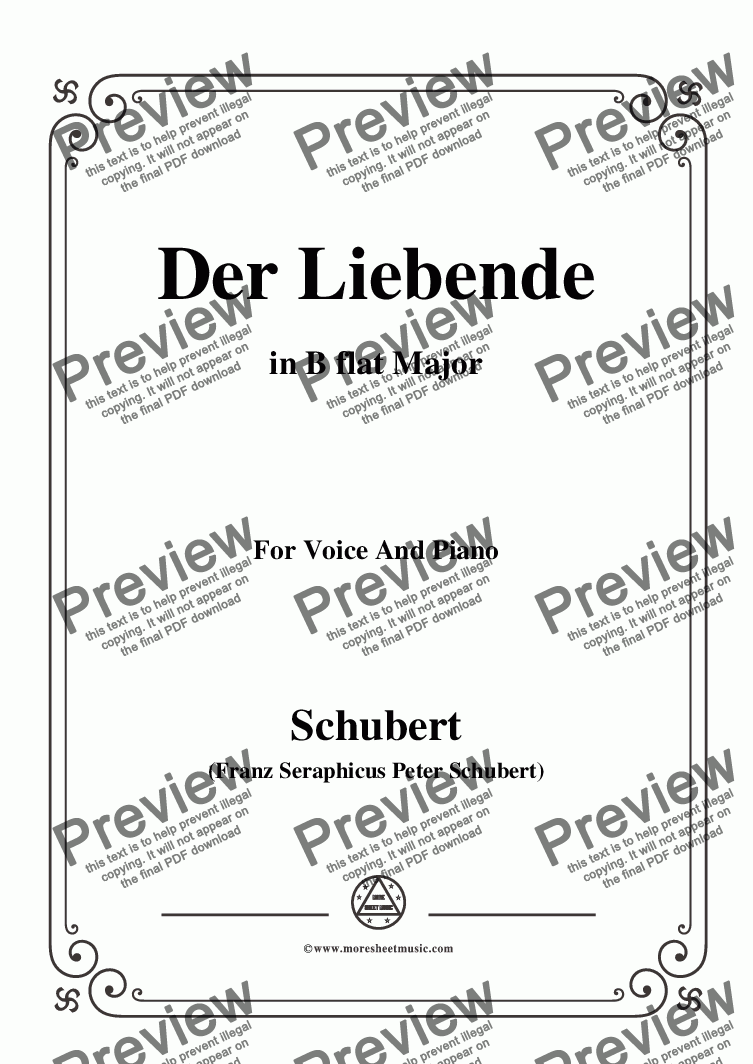 page one of Schubert-Der Liebende, D.207,in B flat Major,for Voice and Piano