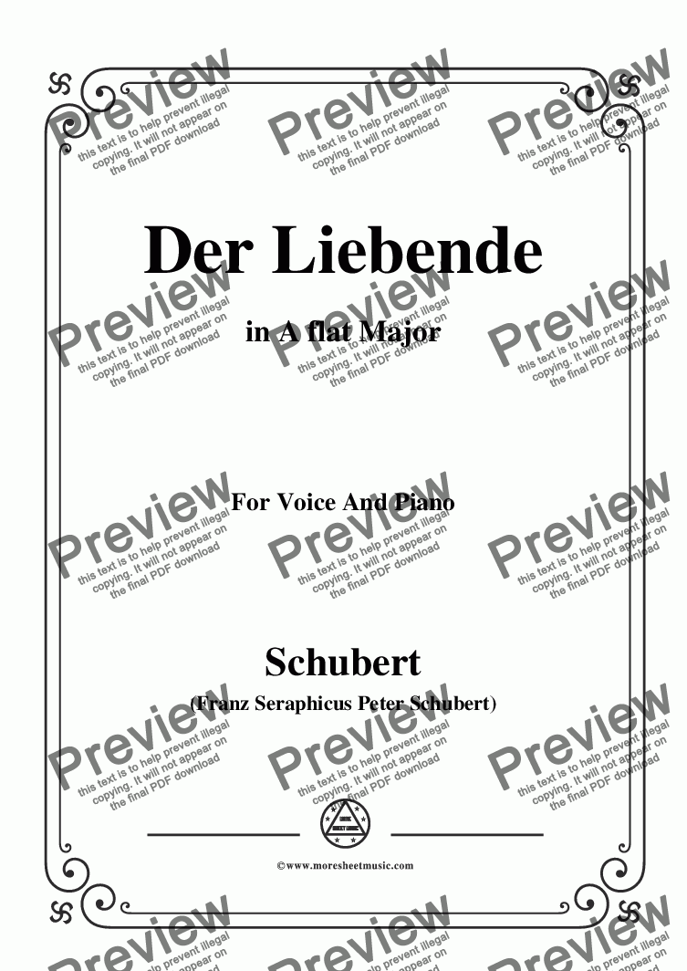 page one of Schubert-Der Liebende, D.207,in A flat Major,for Voice and Piano