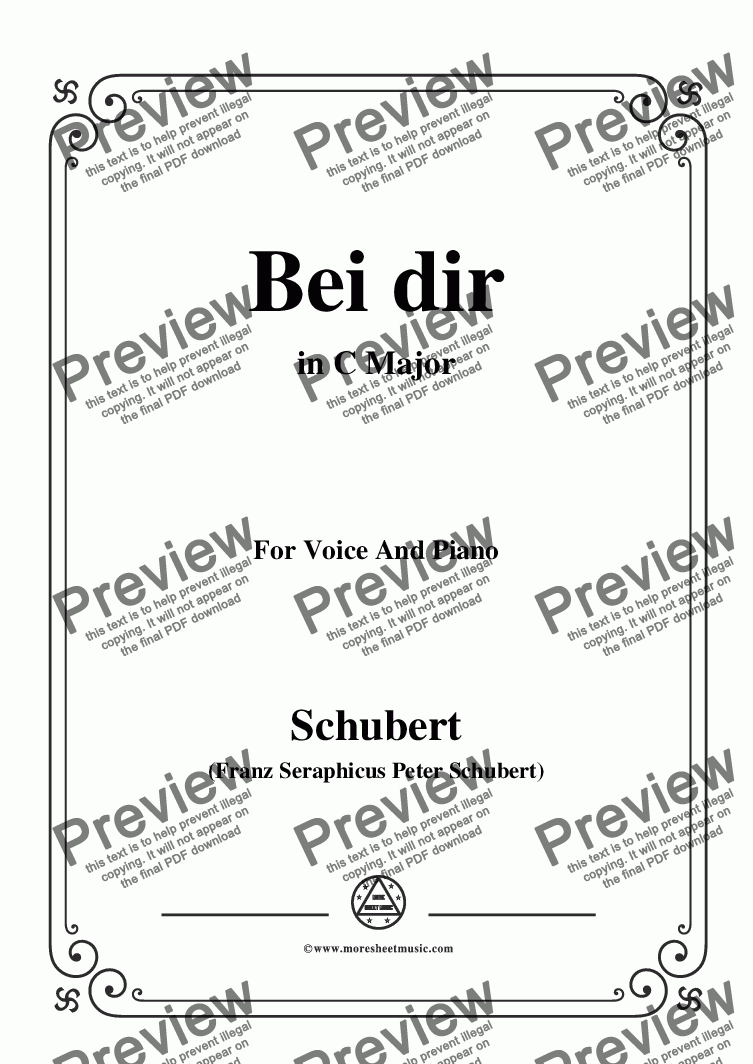 page one of Schubert-Bei dir,in C Major,Op.95,No.2,for Voice and Piano