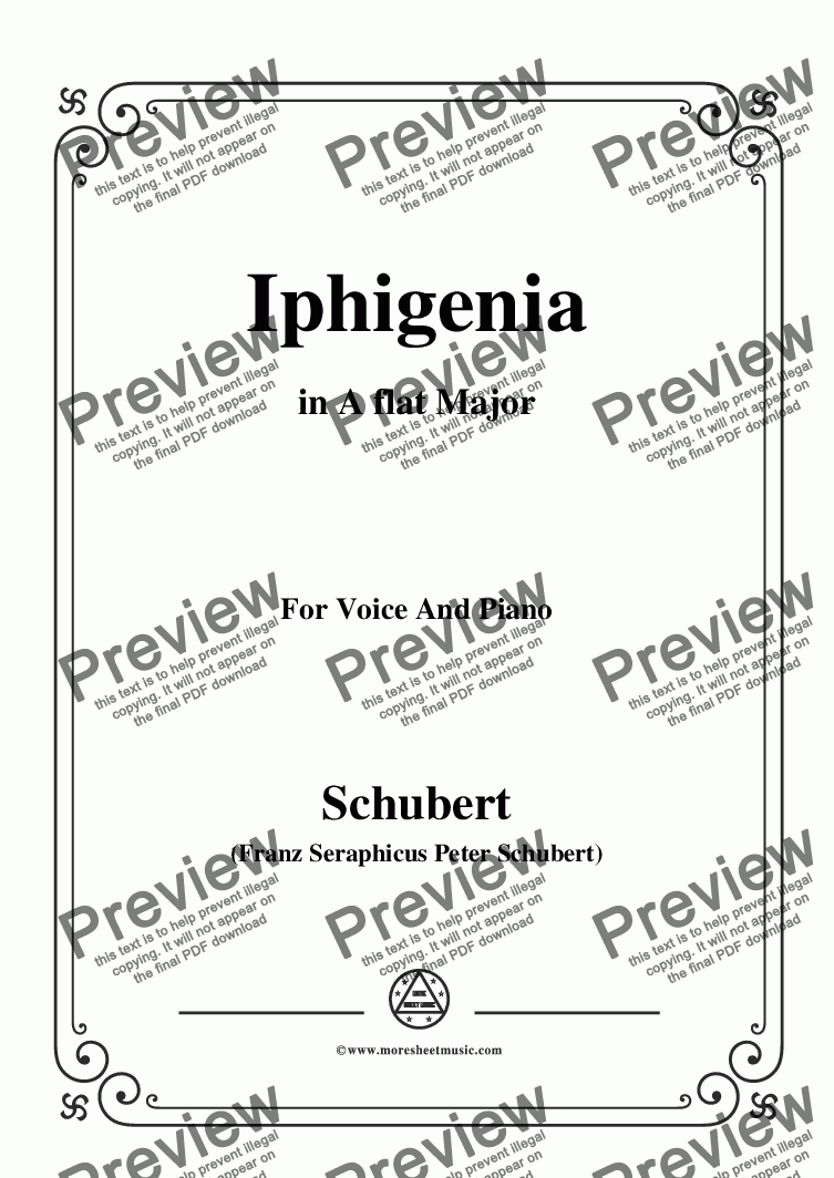 page one of Schubert-Iphigenia,in A flat Major,Op.98,No.3,for Voice and Piano