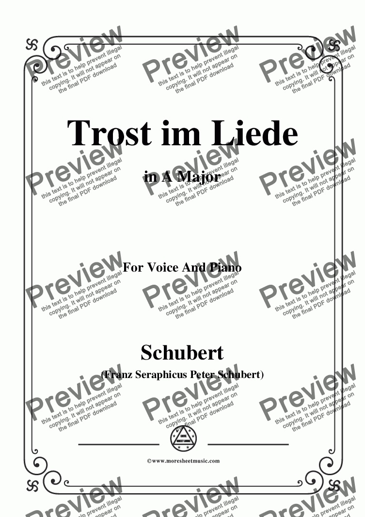 page one of Schubert-Trost im Liede,in A Major,for Voice and Piano