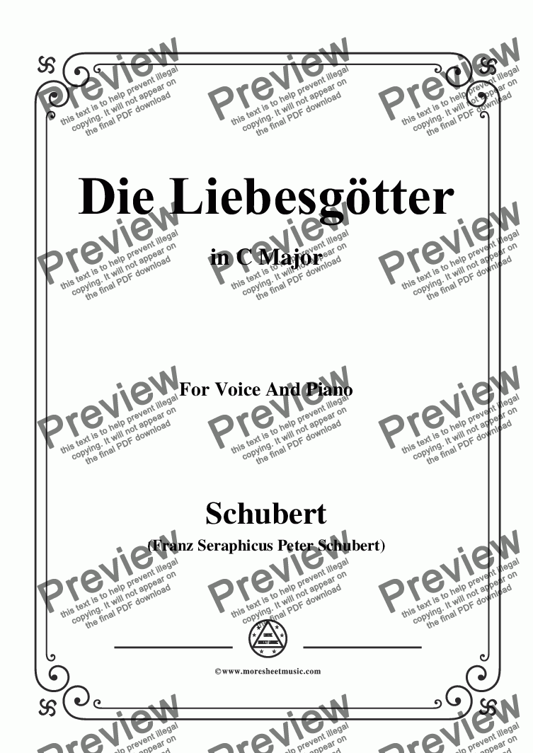 page one of Schubert-Die Liebesgötter,in C Major,for Voice and Piano