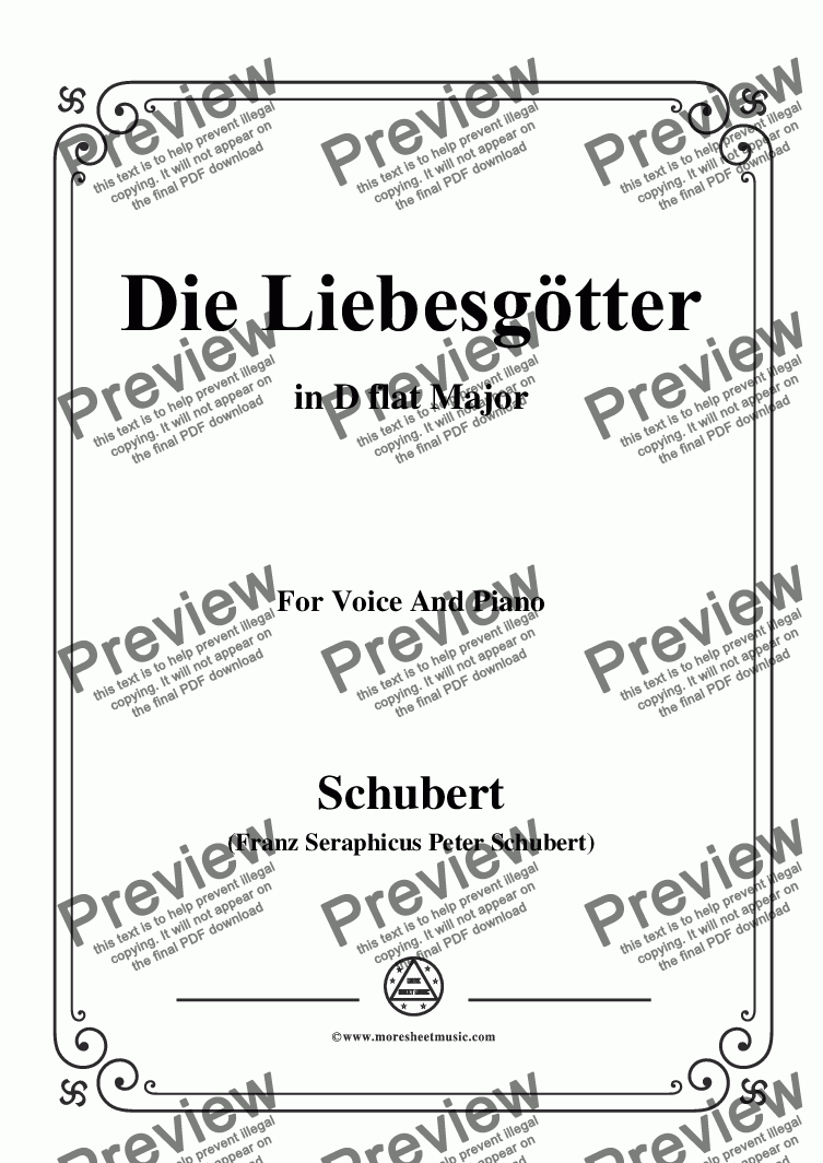 page one of Schubert-Die Liebesgötter,in D flat Major,for Voice and Piano