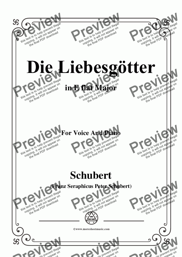 page one of Schubert-Die Liebesgötter,in E flat Major,for Voice and Piano