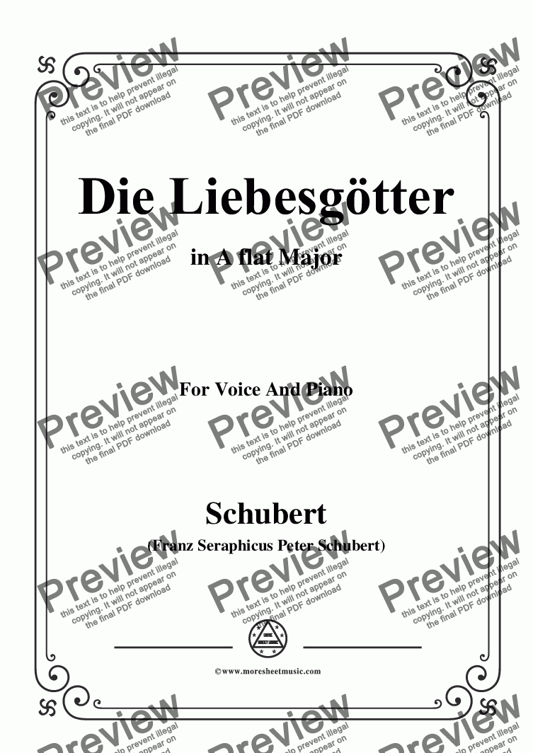 page one of Schubert-Die Liebesgötter,in A flat Major,for Voice and Piano