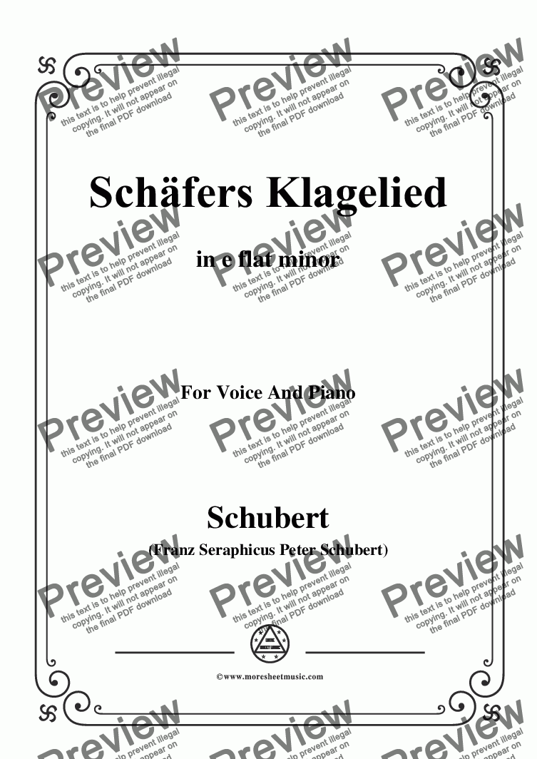 page one of Schubert-Schäfers Klagelied,in e flat minor,Op.3,No.1,for Voice and Piano