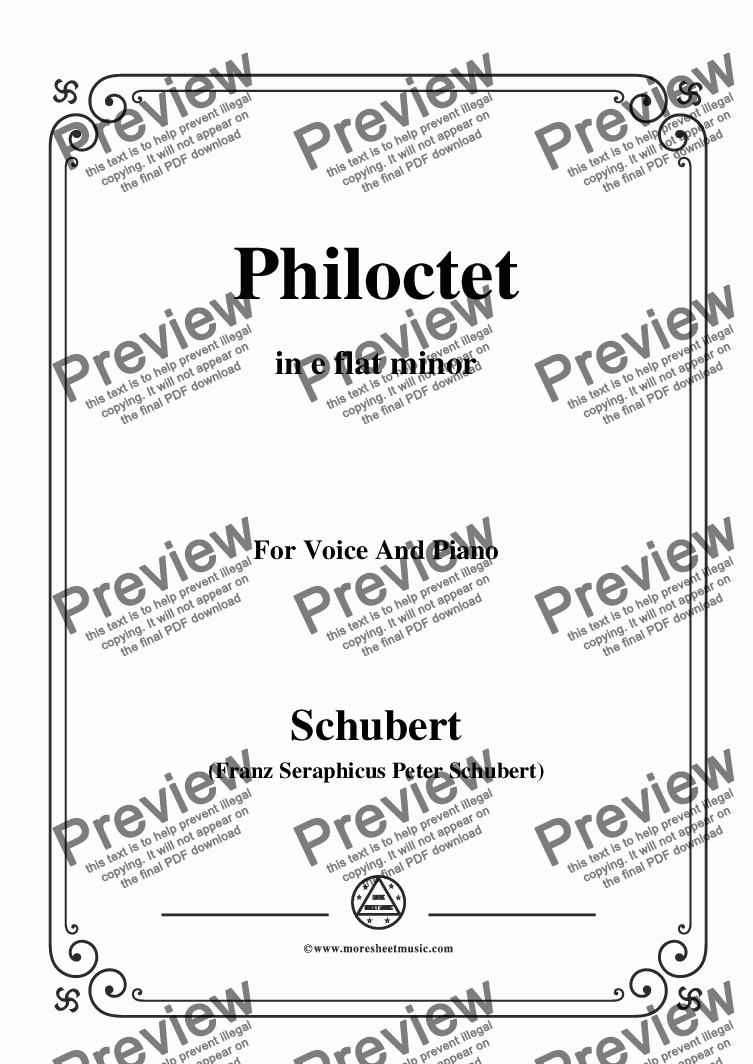 page one of Schubert-Philoctet,in e flat minor,for Voice and Piano