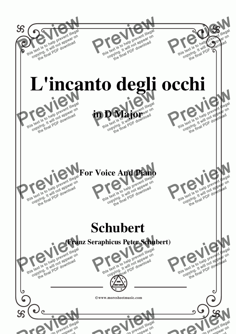 page one of Schubert-L'incanto degli occhi,in D Major,Op.83,No.1,for Voice and Piano