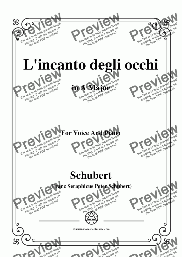 page one of Schubert-L'incanto degli occhi,in A Major,Op.83,No.1,for Voice and Piano